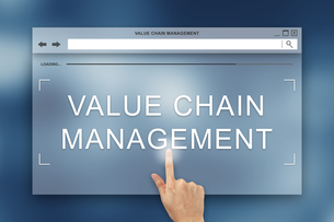 hand press on value chain management button on websiteの写真素材 [FYI00752977]