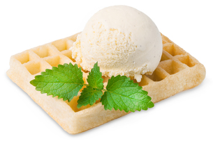 exempted waffle with vanilla ice cream and a leafの素材 [FYI00753750]