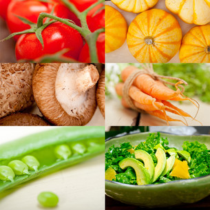 hearthy vegetables collage compositionの写真素材 [FYI00753841]