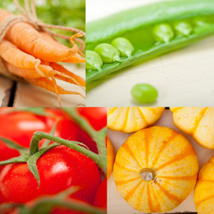 hearthy vegetables collage compositionの写真素材 [FYI00753843]