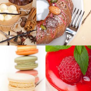 fresh dessert cake collageの写真素材 [FYI00753844]