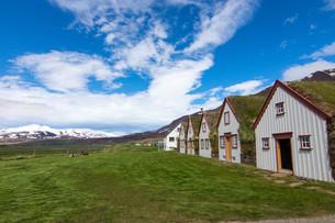 the old laufas farm near akureyri in icelandの写真素材 [FYI00753848]