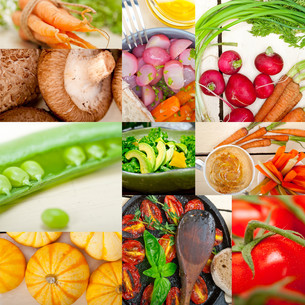 hearthy vegetables collage compositionの写真素材 [FYI00753849]