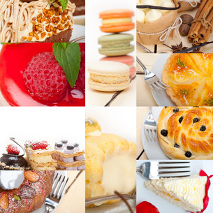 fresh dessert cake collageの写真素材 [FYI00753854]
