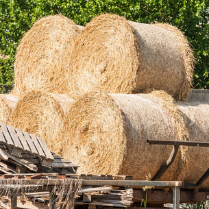 Farm cart with hay balesの写真素材 [FYI00754128]