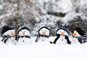 Cute snowman group in snowの写真素材 [FYI00754170]