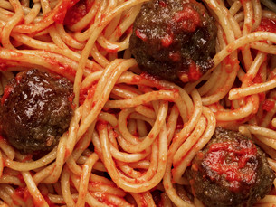 american italian meatball spaghetti food backgroundの写真素材 [FYI00754415]