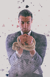 double exposure low poly design of business man and binary numbersの写真素材 [FYI00754556]