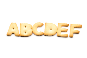 Letter ABCDEF biscuit isolated on white backgroundの写真素材 [FYI00754809]