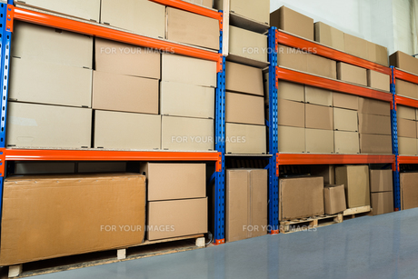 Warehouse Shelf With Cardboard Boxesの素材 [FYI00755087]