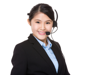 Customer services assistant with headsetの写真素材 [FYI00755779]