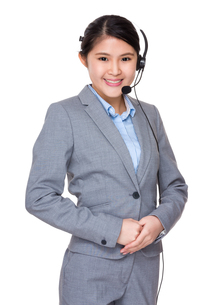 Asian businesswoman with headsetの写真素材 [FYI00755808]
