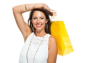 young stylish woman with colorful shopping bags sale saleの写真素材 [FYI00755960]