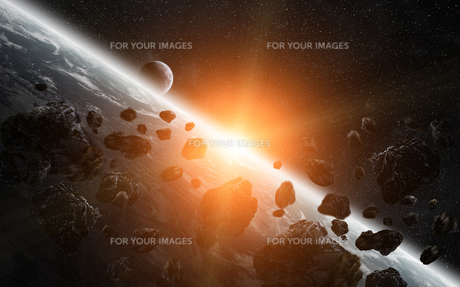 Meteorite impact on planet Earth in spaceの写真素材 [FYI00756474]