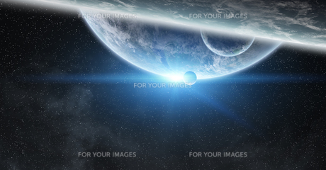 Sunrise over planet Earth in spaceの写真素材 [FYI00756481]