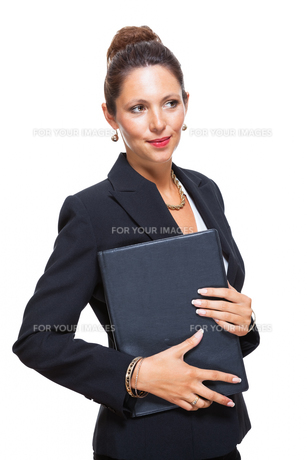 isolated businesswoman in portrait in hand with walletの素材 [FYI00756543]