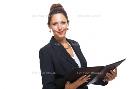isolated business woman in the portrait in his hands with walletの素材 [FYI00756544]
