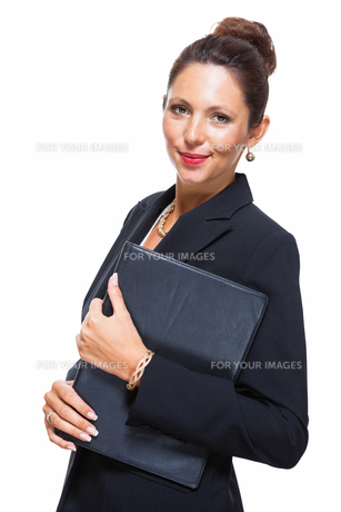 isolated business woman in the portrait in his hands with walletの素材 [FYI00756545]