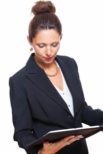 isolated business woman in the portrait in his hands with walletの素材 [FYI00756548]