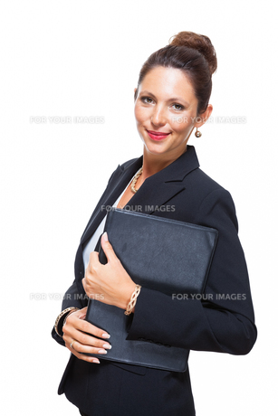 isolated business woman in the portrait in his hands with walletの素材 [FYI00756549]