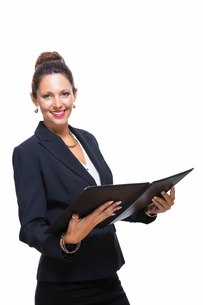 isolated businesswoman in portrait in hand with walletの素材 [FYI00756551]