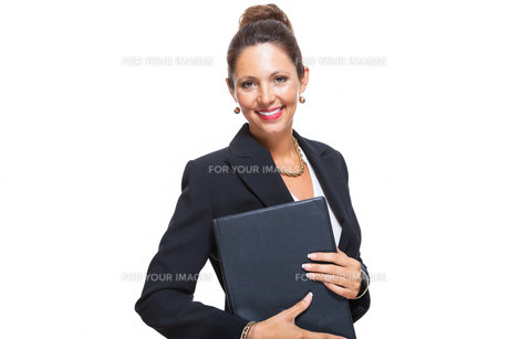 isolated business woman in the portrait in his hands with walletの素材 [FYI00756553]