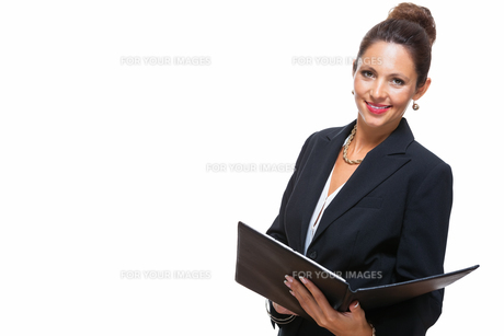 isolated business woman in the portrait in his hands with walletの素材 [FYI00756557]