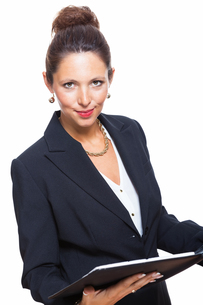 isolated businesswoman in portrait in hand with walletの素材 [FYI00756563]