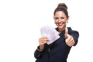young successful business woman with 500 euro notesの素材 [FYI00756588]