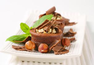 Mini chocolate hazelnut cakesの写真素材 [FYI00756849]