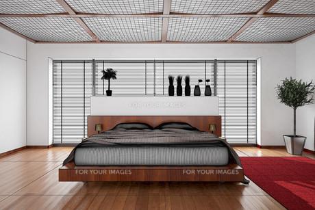 3D interior rendering of a modern bedroomの写真素材 [FYI00757013]