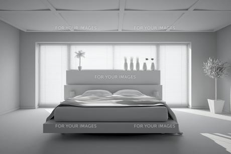 3D interior rendering of a modern bedroomの写真素材 [FYI00757014]