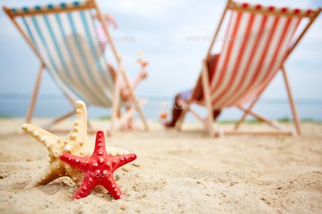 Sea stars on sandy beachの素材 [FYI00757042]
