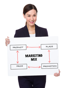 Businesswoman hold with a board showing marketing mix conceptの写真素材 [FYI00757322]