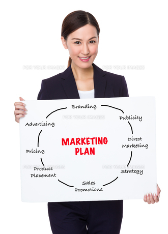 Businesswoman hold with a board showing marketing planningの素材 [FYI00757337]