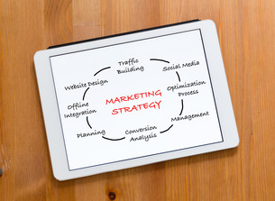Digital Tablet on a desk and showing marketing Strategy conceptの写真素材 [FYI00757520]