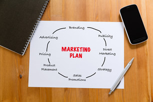 White paper on desk with cellphone showing marketing planningの写真素材 [FYI00757528]