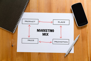 White paper on desk with cellphone showing marketing mix conceptの写真素材 [FYI00757529]