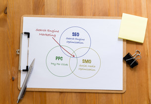 Office desk with clipboard showing search engine marketing conceptの写真素材 [FYI00757537]