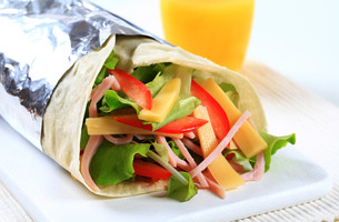 Ham and cheese salad wrap sandwichの写真素材 [FYI00757739]