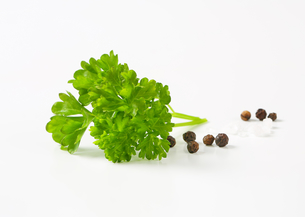 Fresh parsley, black peppercorns and saltの写真素材 [FYI00757890]