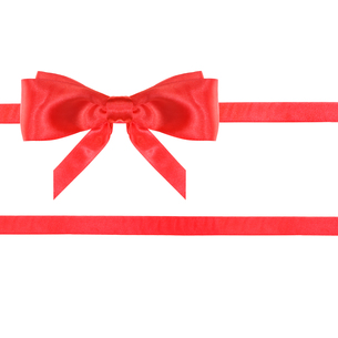 red satin bow knot and ribbons on white - set 24の写真素材 [FYI00758187]