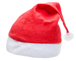 typical red santa hat isolated on white backgroundの写真素材 [FYI00758189]