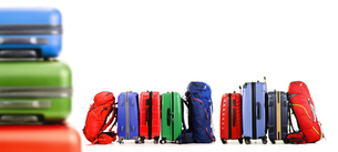 Suitcases and backpacks isolated on white backgroundの写真素材 [FYI00758429]