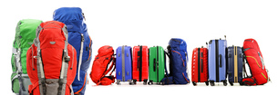 Suitcases and backpacks isolated on white backgroundの写真素材 [FYI00758432]