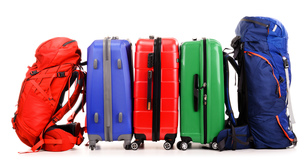 Suitcases and rucksacks isolated on whiteの写真素材 [FYI00758440]