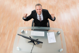 Happy Businessman Clenching His Fistの写真素材 [FYI00758724]