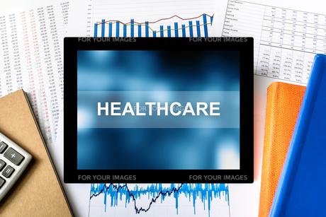 healthcare word on tabletの写真素材 [FYI00758929]