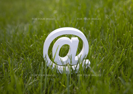 Email sign on green grassの素材 [FYI00758960]