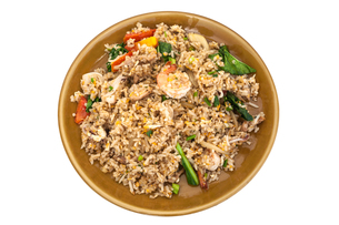 Shrimp fried rice, Clipping pathの写真素材 [FYI00758986]